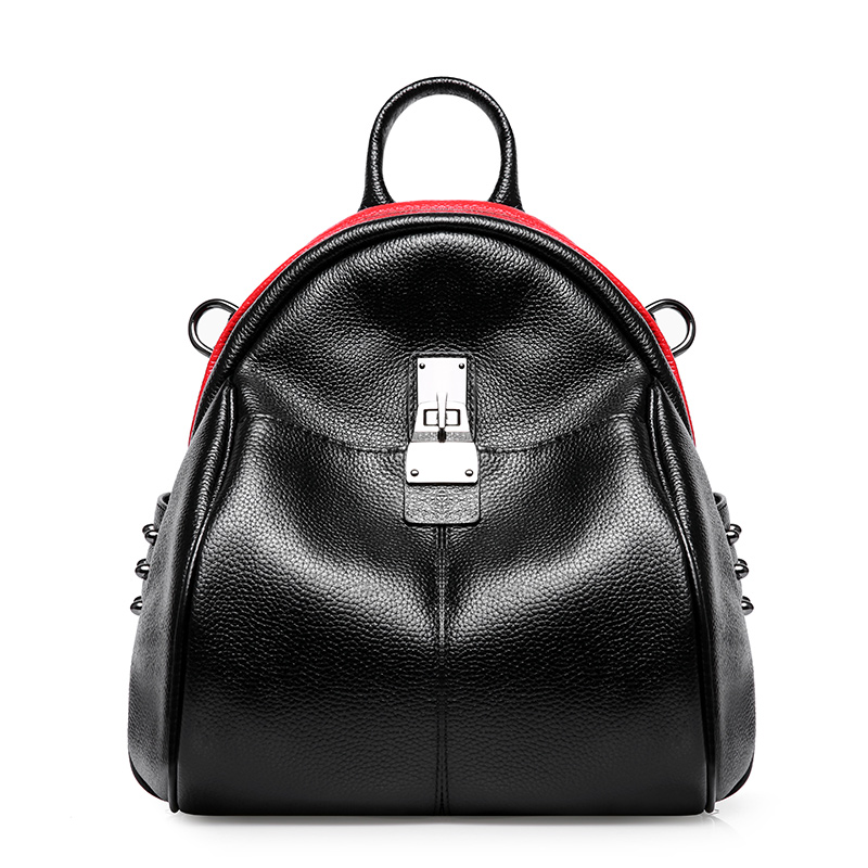 LUODUN Genuine Leather shoulder bag female bag the first layer of leather ladies bag dual wild simple school wind small backpack bag female new genuine leather handbags first layer of leather shoulder bag korean zipper small square bag mobile messenger bags