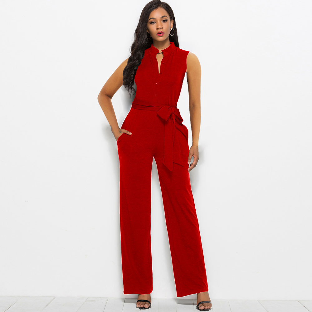 Fashion Sleeveless Straight Jumpsuit Office Ladies Overalls Rompers Wide Leg Pant Button Belt High Quality Business Women Outfit
