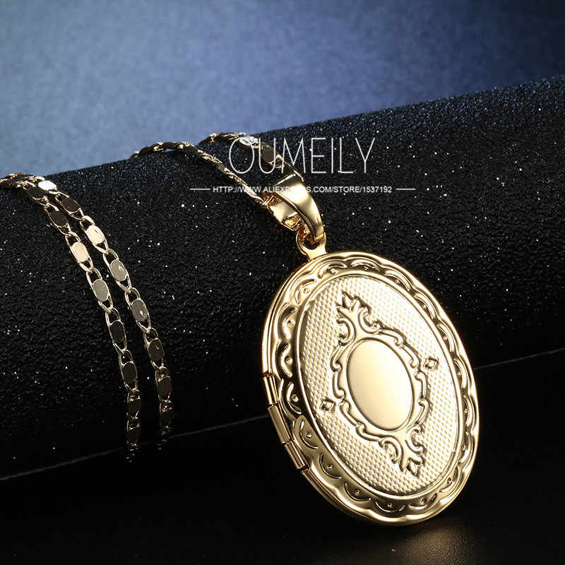 OUMEILY europejski styl medalion srebrny złoty kolor dla kobiet moda biżuteria w stylu Vintage wisiorek naszyjnik obraz rama akcesoria