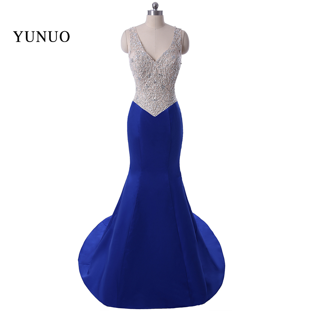 Real Photos Evening Dresses 2018 Sweetheart Beading Royal Blue ...