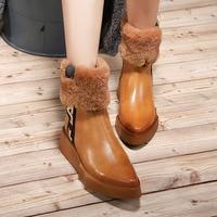 Для женщин Зимние сапоги из натуральной кожи теплые зимние ботинки острый носок 6 см высокий каблук клин чистка меха овцы Модные ручной рабо
