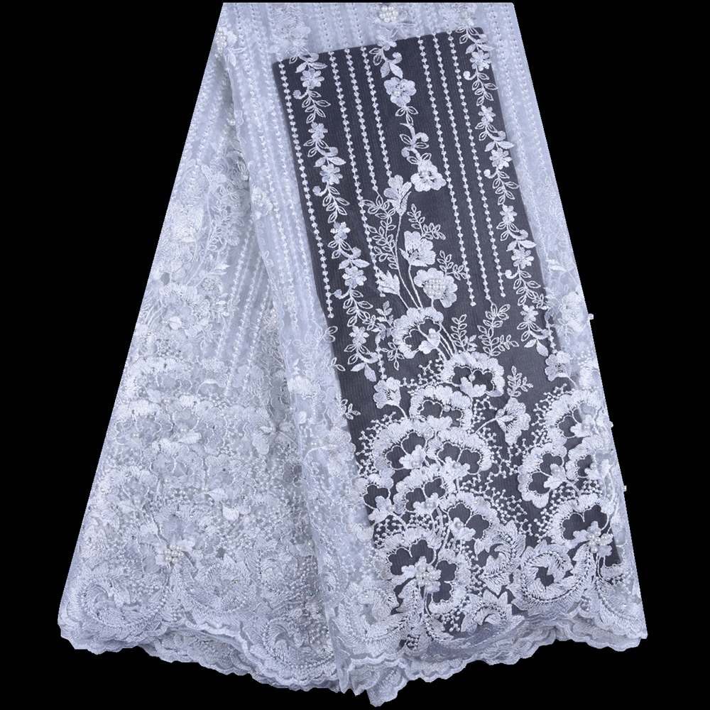 2019 French Tulle Lace Fabric Embroidered Nigerian Laces Fabric Bridal High Quality African Net Lace Fabric
