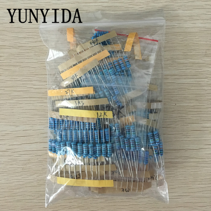Total 300pcs 1% 1W Metal Film Resistor Assorted Kit 30Values*10pcs=300pcs (1K Ohm ~1M Ohm)