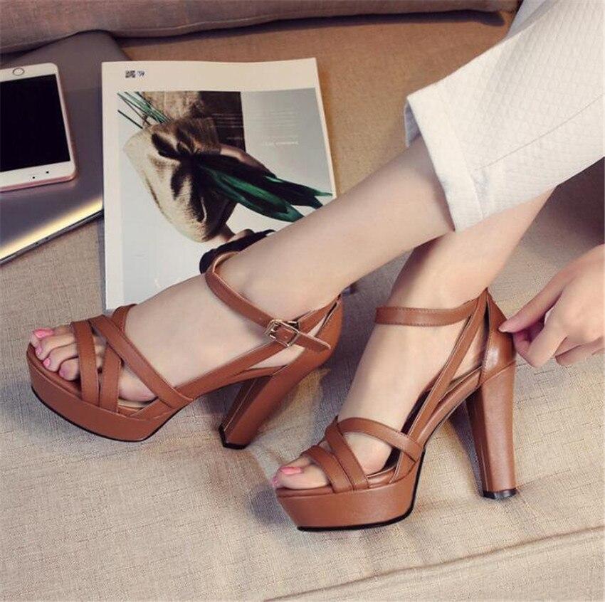 MLRCRIYG Summer waterproof table rough heel round top ladies leather shoes