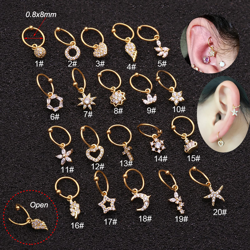 Ring-Hoop Clickers Nose-Ring Piercing Earringtragus Ear-Cartilage Surgical-Steel Septum