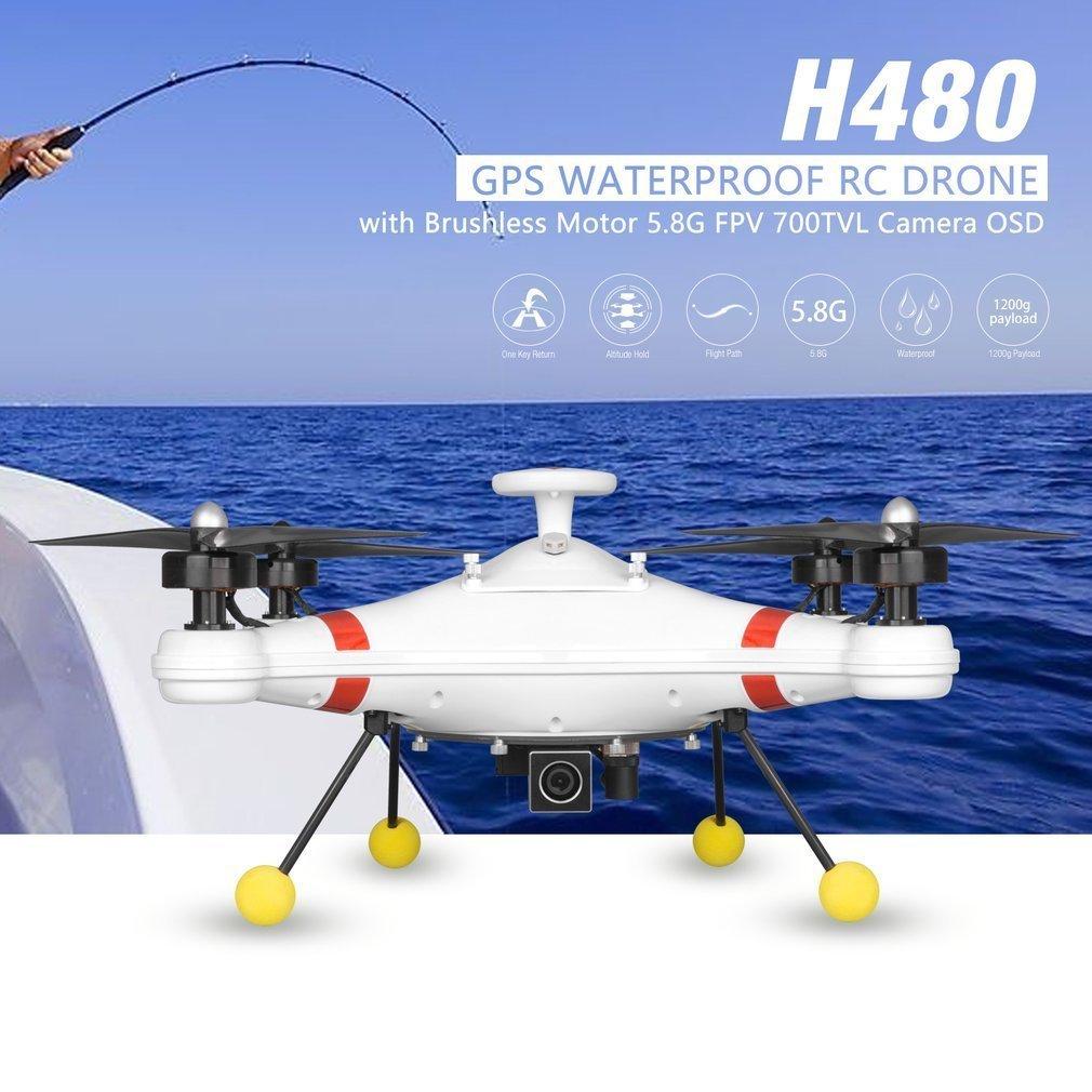 H480 sans brosse 5.8G FPV 700TVL caméra GPS quadrirotor avion aéronef sans pilote (UAV) avec OSD étanche professionnel pêche Drone RC