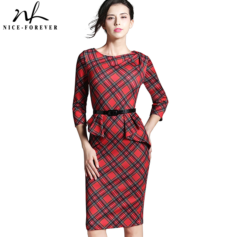 Nice-forever Vår Lady Vintage Tartan Rød nyttår Fitted Dress O Hals 3/4 Sleeve Belt Peplum Casual Glidelås Pencil Dress B267