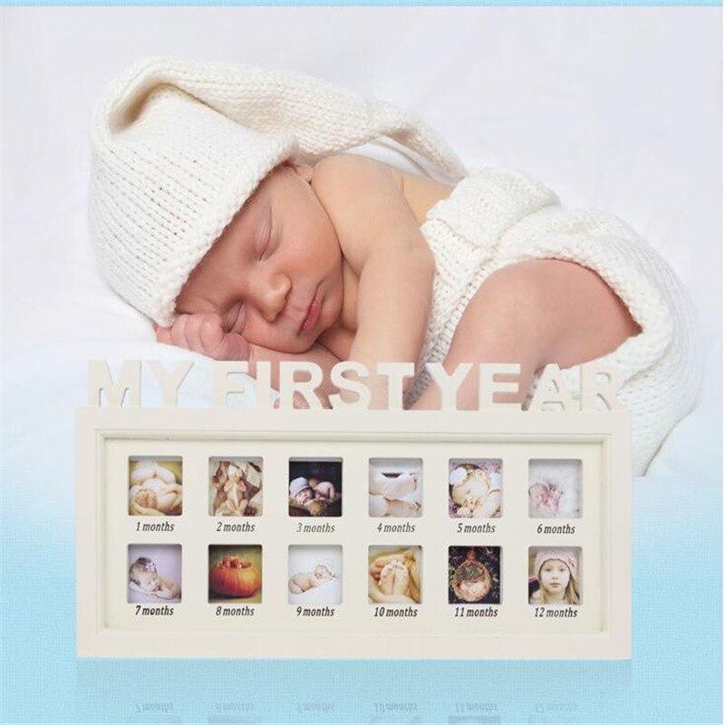 Accrocher un bébé cadre photo bois image Rahmen blanc Base Art décoration bricolage en bois famille Photos Album cadre salon décors