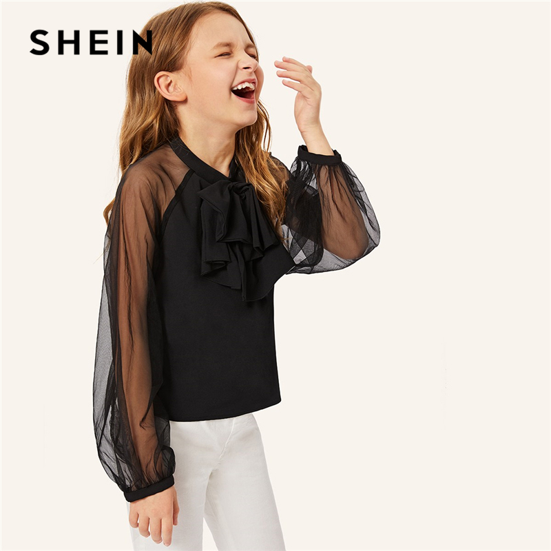 SHEIN Kiddie Black Bow Detail Mesh Raglan Long Sleeve Elegant Blouse Girl Kids Clothing 2019 Spring Preppy Girls Blouses