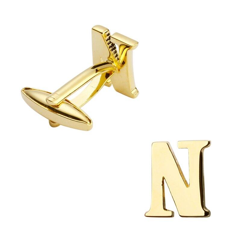 Bijoux pour hommes boutons de manchette mode métal/or de haute qualité, boutons de manchette chemise française lettres N bouton de manchette nom logo
