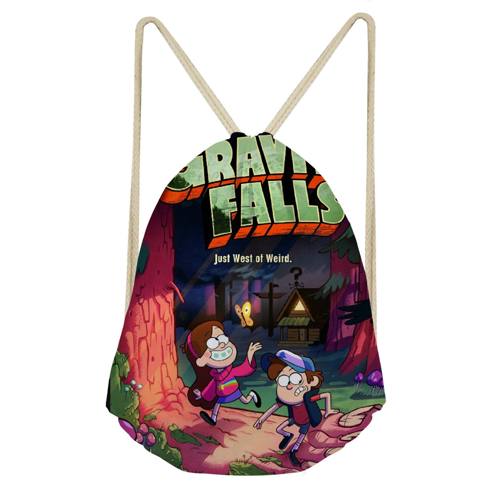 ThiKin Gravity Falls Drawstring Bag For Girls Travel Storage Package Cartoon School Backpacks Children Lightweight Mochila