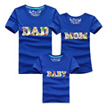Family t-shirts mother father baby short sleeve tops DAD MOM BABY pattern summer family tshirts family look matching suits plus