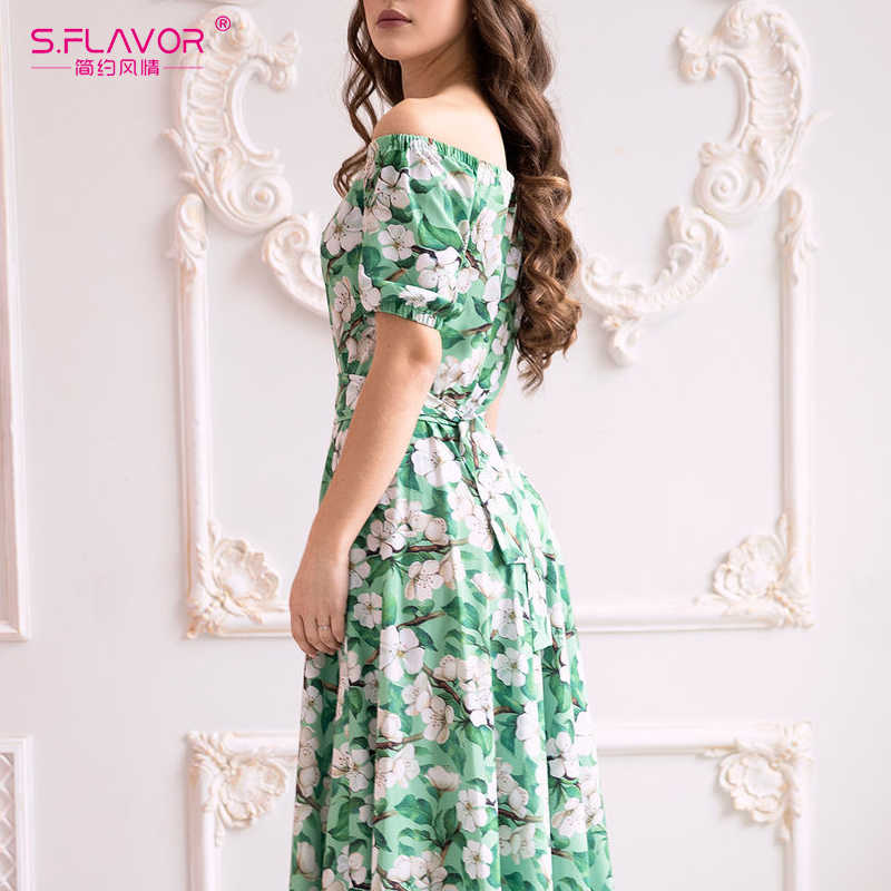 S. FLAVOR, женские элегантные вечерние платья, сексуальное платье с открытыми плечами, рукав до локтя, длинное платье с цветочным принтом, макси платье для женщин