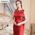 2017 Femme Verão Sem Mangas O Pescoço Vermelho 100% Real Silk Nightgowns Mulheres Pijamas Sexy Roupa de Dormir Vestido Camisola De Seda Vermelho