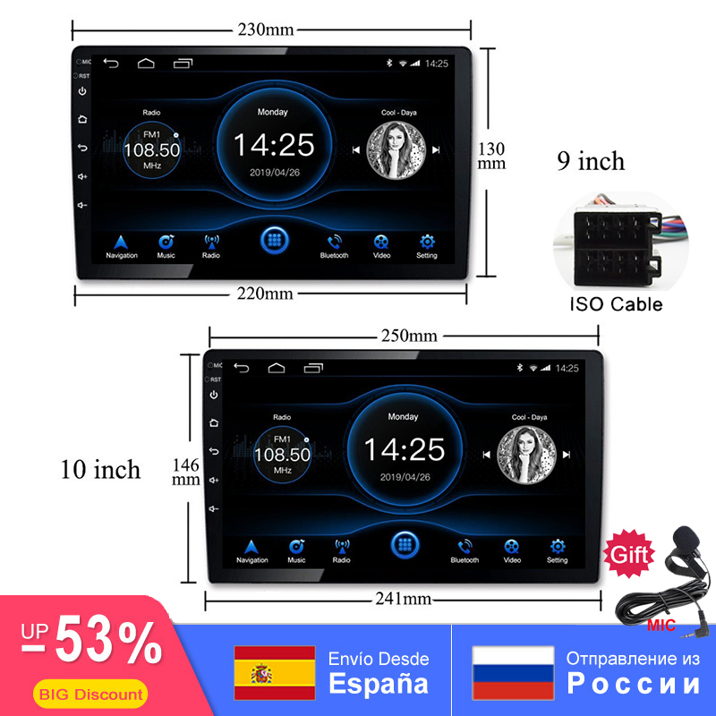 Dvd-Player Autoradio Multimedia Gps Navigation Mirrorlink OBD2 Bluetooth DAB WIFI Android title=
