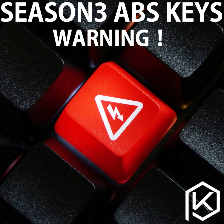 Novelty Shine Through Keycaps ABS Etched, Light,Shine-Through Warning Black Red Custom Mechanical Keyboards Light Oem Profile