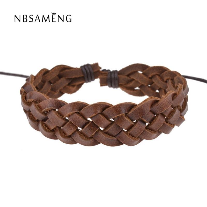 Free Shipping 2018 New Personality Men Jewelry Women Fashion Bangle Punk Vintage Handmade Leather Bracelet SA042