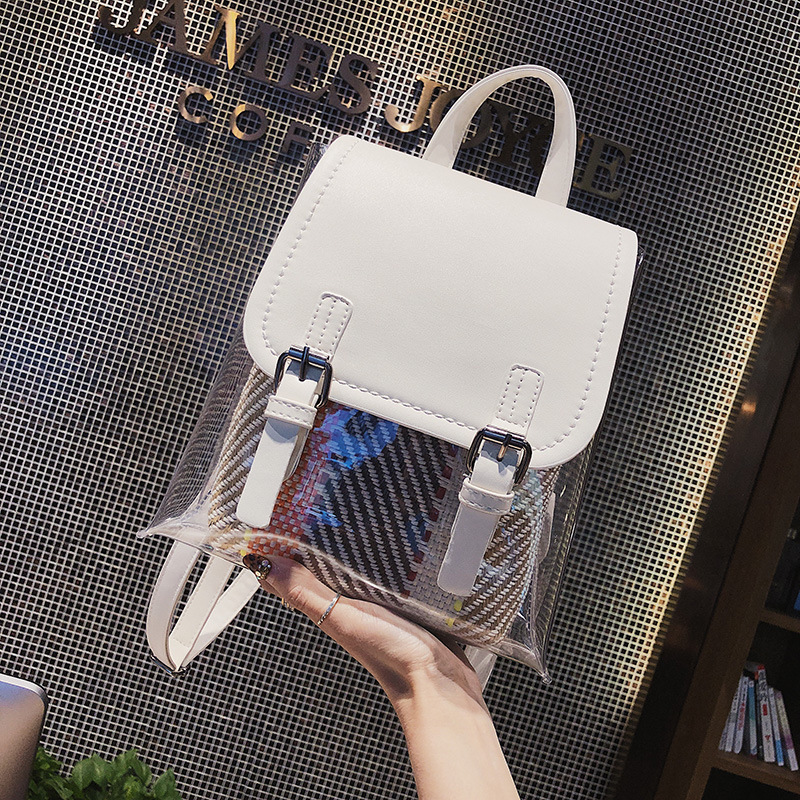 Transparent PVC Backpack Women Bookbag Candy Clear Street Women Travel Backpack Purse Crystal Beach Bag Portable Women Bags