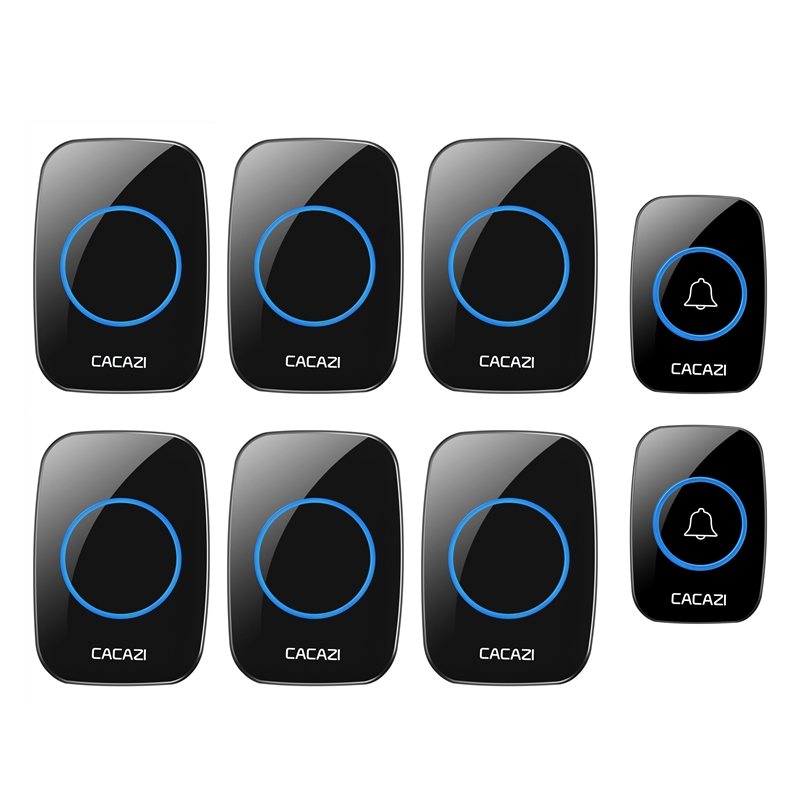CACAZI Home wireless Doorbell 100-240V EU/UK/US Plug waterproof Door Bell 2 Push Buttons+6 Doorbell Receiver 38 ring door chime cacazi ac 110 220v wireless doorbell 1 transmitter 6 receivers eu us uk plug 300m remote door bell 3 volume 38 rings door chime