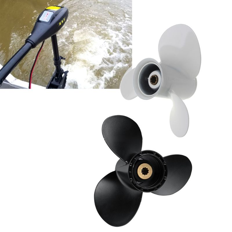 Image 2 - Aluminum Boat Outboard Propeller for Suzuki 9.9 15HP White 3 Blades 10 Spline Tooth 9 1/4 x 11-in Marine Propeller from Automobiles & Motorcycles