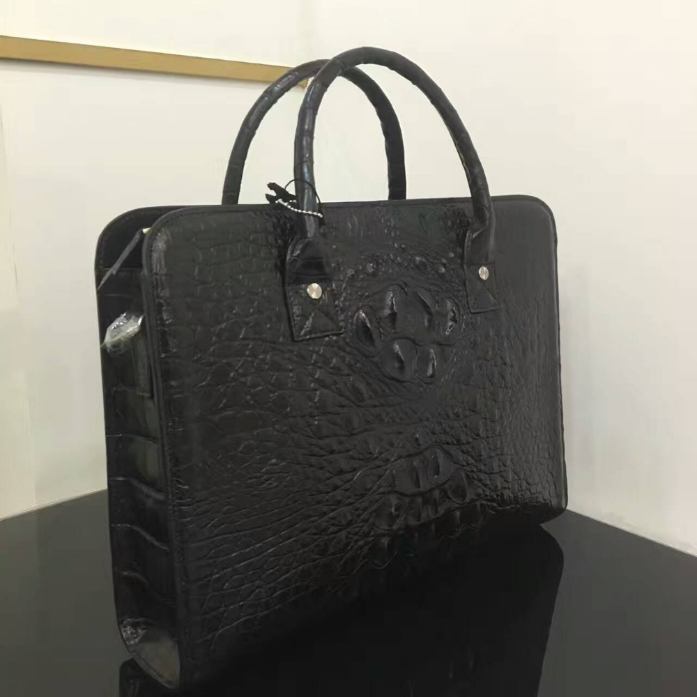 Top Luxury quality alligator skin Men Business bag black discounts ,100% Genuine/Real Crocodile Skin Men Briefcase Laptop BagTop Luxury quality alligator skin Men Business bag black discounts ,100% Genuine/Real Crocodile Skin Men Briefcase Laptop Bag