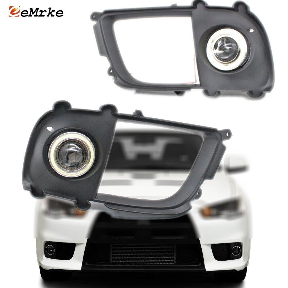 For Mitsubishi Lancer Evolution EVO X LED Angel Eyes DRL Yellow Signal Light H11 Halogen Xenon