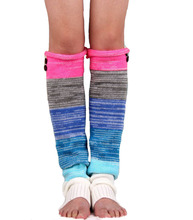 2016 New women fashion leg warmers colorful knitted wool multicolor mosaic buttons sets Ms. leggings boots warm gloves