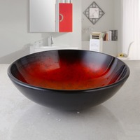Fashion Style Round Hand Painted Artistic Victory Vessel Wash Basin Tempered Glass Sink Bathroom Basin