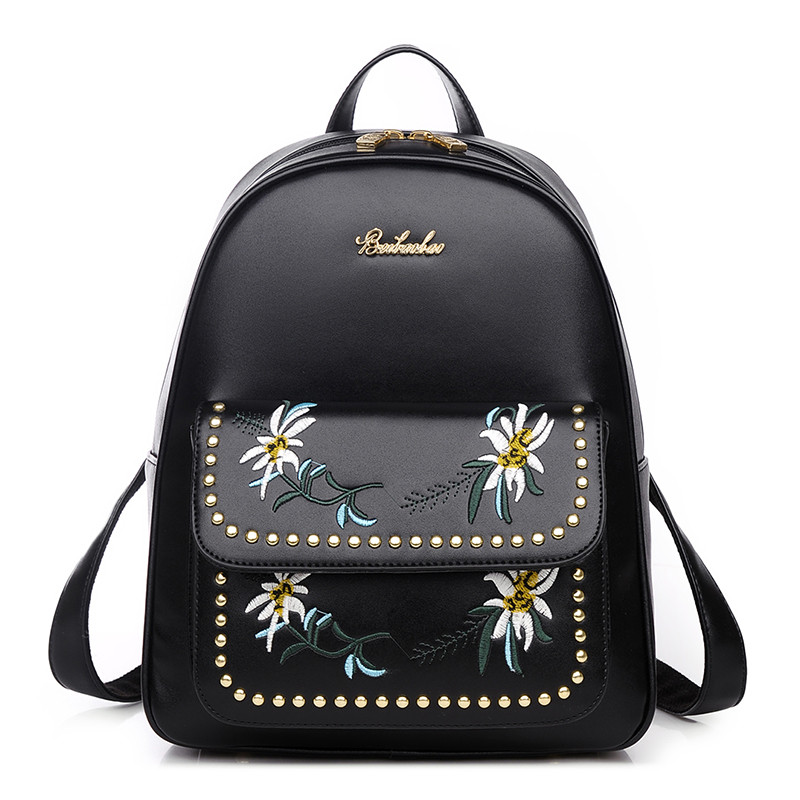 Floral Backpack Women Leather 2017 National Embroidery Backpacks Women Luxury Brands School Bags for Teenagers Rucksack