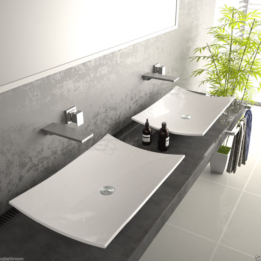 Superb ... NEW Slim Square Counter Top Basin Vanity Sink With Pop Up Plug Waste  Free Ship ...