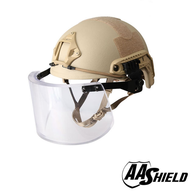 AA ACH Ballistic Shield Alta Corte Tactical Capacete de Segurança À Prova de Balas Máscara de vidro Corpo Armadura Kit de Aramida Núcleo IIIA NIJ 3A TAN