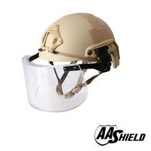 AA Shield Ballistic ACH High Cut Tactical Safety Helmet Bulletproof Glass Mask Body Armor Aramid Core NIJ IIIA 3A Kit TAN