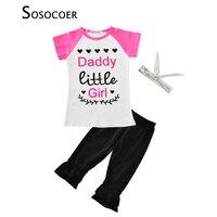 SOSOCOER 소녀 의류 세트 여름 패션 편지 심장 T 셔츠 + 바지 + 활 머리띠 3 개 아이 여자 아기 옷 세트