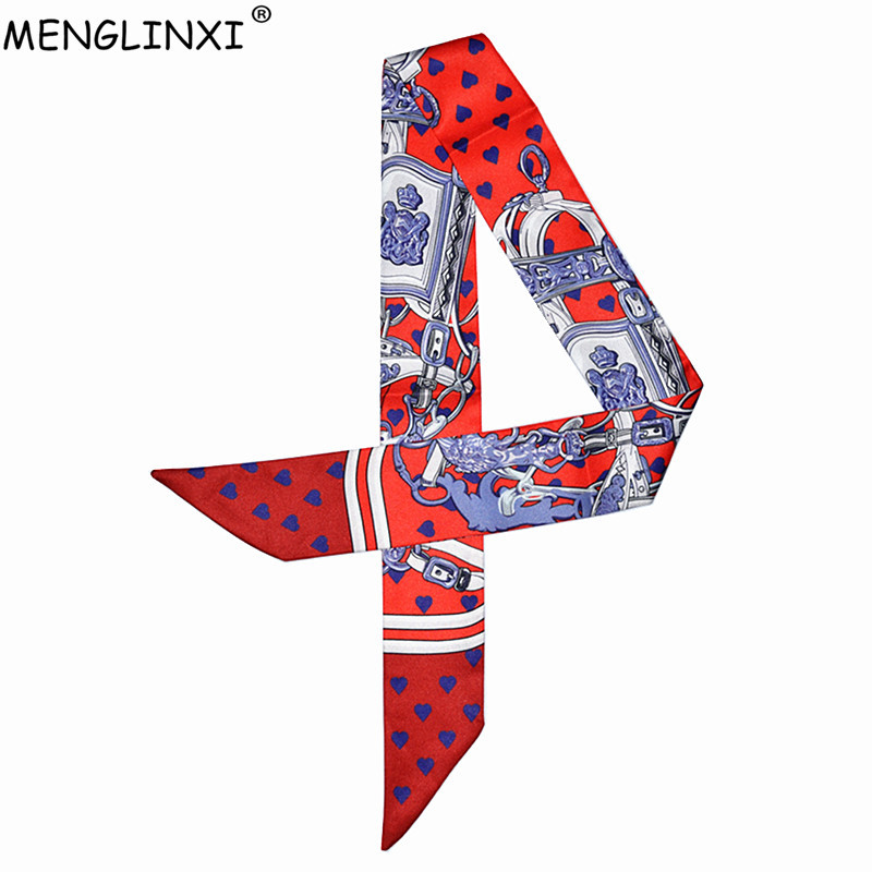 Mermaid And Heart Printing Silk Scarf For Women Luxury Brand Foulard Women Tie 2019 New Fashion Head Scarves For Ladies And Girl