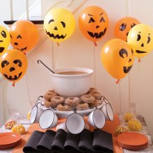 Pack of 15pcs Halloween Decorations Orange Black Printed Ghost Jack-o-Lantern Latex Balloons for Party Decoration
