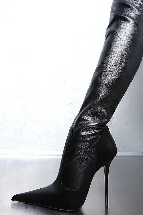 Botas mujer invierno noir femmes chaussures cuisse haut talon bota sur le genou bottes bout pointu longue femme moto plus tailles47