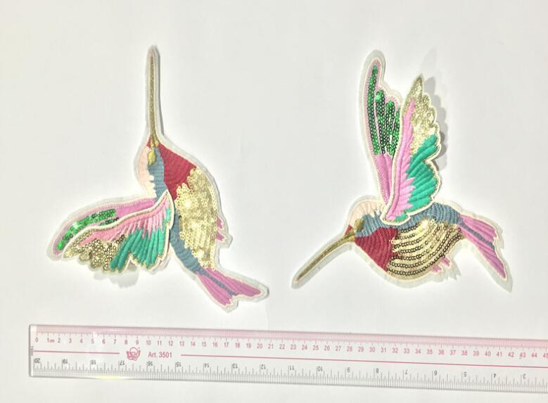 1 paia 3d paillette paillettes ricamo uccelli patch applique cucire