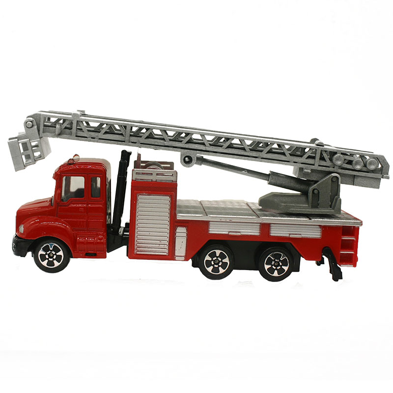 1:64 Mini Toys Cars Model Alloy Plastic Fire Fighting Truck Engineering Car Model Display Stand Gift For Kids (L:W:H)17:4:8CM
