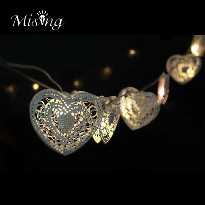 Mising 1.8M 10 LED Metal Heart Shape 2*AA Battery String Lights Fairy Ourdoor Garden Lights Christmas Wedding Decoration Lamp