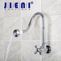 JIENI E Pak Chrome Wall Mounted Bathroom Faucet Basin Tap Single Cold All Around Rotate Swivel