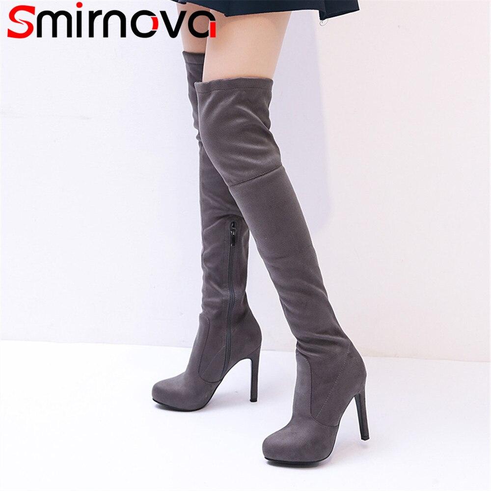 Smirnova mode automne hiver chaussures femme plate-forme dames bottes élastiques super haut talon mince troupeau femmes sur les bottes au genou