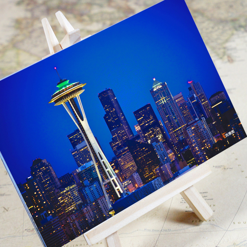 6pcs/set charming City Series Office & School Supplies Seattle Urban Landscape Postcard /greeting Card/birthday Card/christmas Gifts