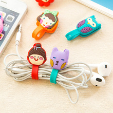 5pcs/lot Random Cute Animals Cable Winder Clip Earphone Winder Earbud Silicone Cable Cord Holder Roma Buckle Type Free shipping