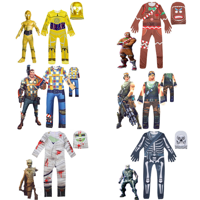 New children's cartoon jumpsuit mask Halloween Party performance costume cosplay kids costume carnival to send gifts boy costume hellboy cosplay mask halloween helmets for kids carnival party masks