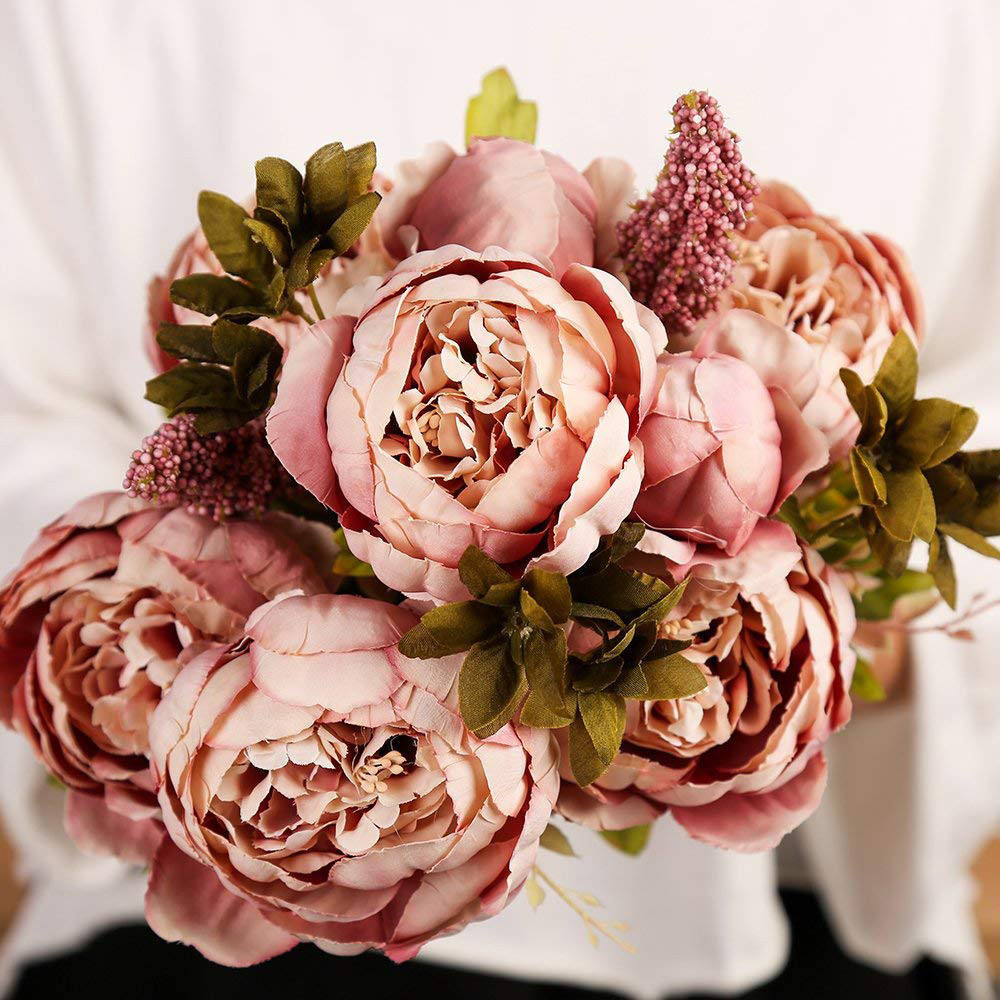 2018 New Vintage Artificial Peony Silk Flowers Bouquet Wedding Party