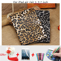 Leopard PU Leather Cover for iPad air Cases High Quality Leather Smart Cover Case for iPad air/air 1 9.7 inch with Stand