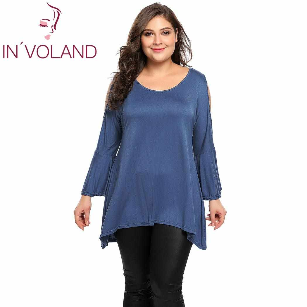 ec8e0b7a284 IN VOLAND Women Chiffon T-Shirt Tops Plus Size 4XL Autumn Batwing Sleeve  Patchwork