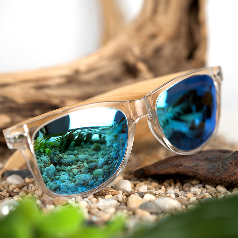 Clear Color Polarized Wood Bamboo Sunglasses For Women. 25