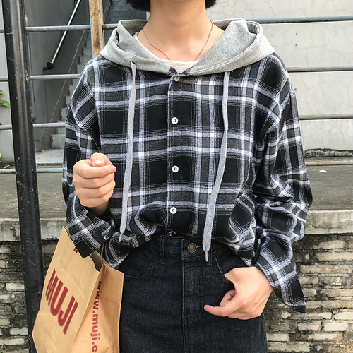88e1f70a Women Tops Spring 2019 Korean Casual Preppy Style Plaid Hooded Long Sleeve  Shirt Blouse Black Red