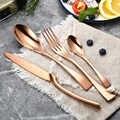 24 pièces/ensemble noir Rose or ensemble de couverts 304 acier inoxydable couverts vaisselle vaisselle argenterie ensemble couteau fourchette livraison directe